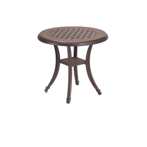 Lowes Patio Side Table by Shop Garden Treasures Tm Herrington 20 Quot Cast Side Table At