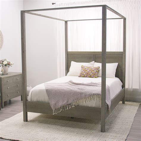 queen canopy bed gray marlon queen canopy bed world market