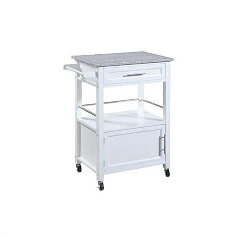 linon mitchell w granite top white kitchen cart