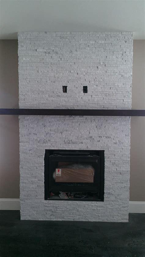 marble ice split stone veneer fireplace recycled granite