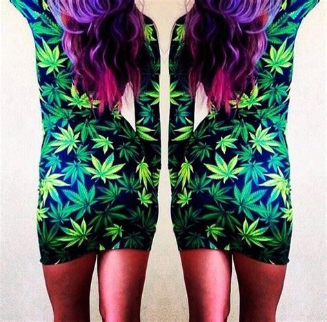 Bj Print Green Dress 2014 new set s pot marijuana print