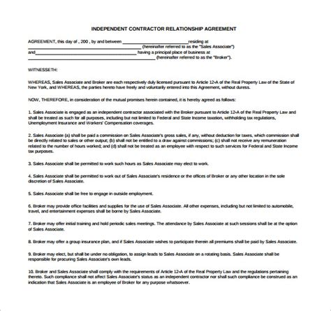 relationship agreement templates   sample