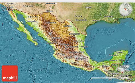 mexico map and mexico geographical map physical 3d map of mexico satellite outside