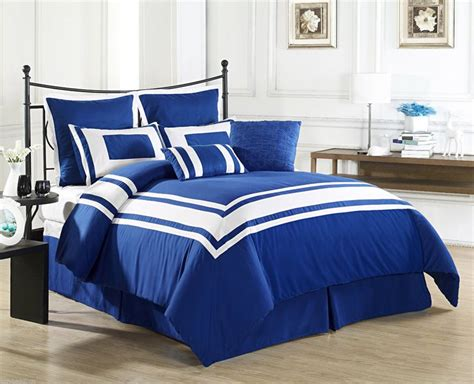 lux decor royal blue queen size bed 8 piece comforter
