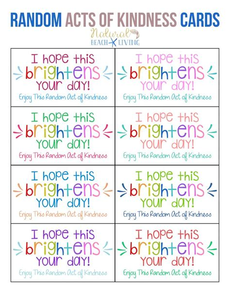 random acts of kindness cards templates the best random acts of kindness printable cards free