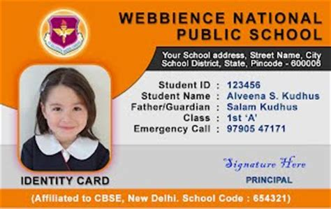 student id card photoshop template webbience school id card templates 030521a
