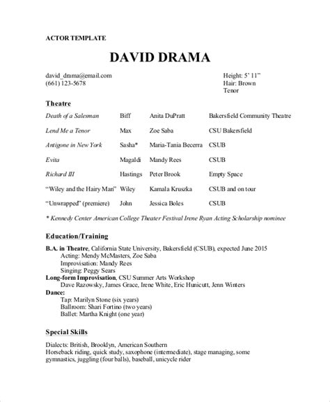 Theatre Resume by Theater Resume Template 6 Free Word Pdf Documents