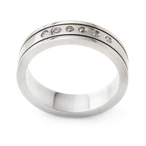 Steel Ring s stainless steel cz ring ssrb028