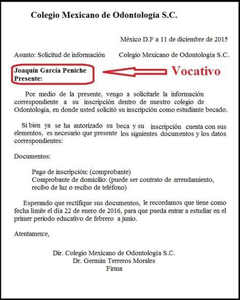 ejemplo de vocativo en la carta
