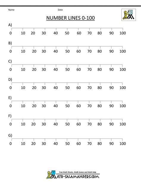 printable number line to 60 basic math worksheets ordering numbers to 100