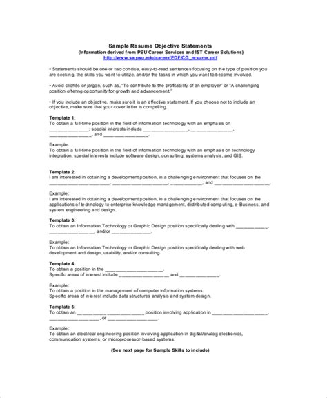 resume exle objective statement sle resume objective 9 exles in pdf word