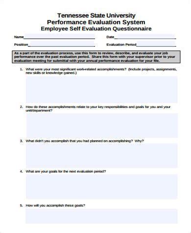 performance self evaluation form 7 sle performance self evaluation forms sle templates