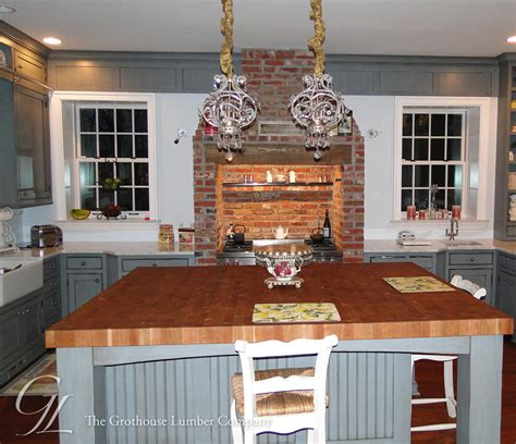 large kitchen island with butcher block top and corner cherry butcher block countertops in moorestown new jersey
