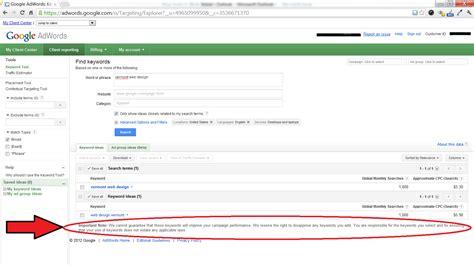 google design tool google keyword tool quot important note quot disclaimer warning