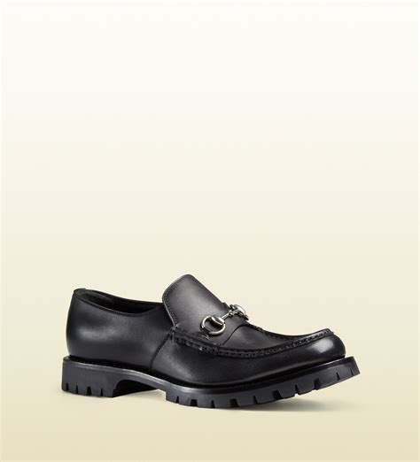 lug sole loafer gucci s leather lug sole horsebit loafer in black for