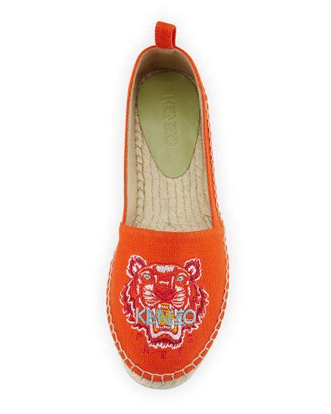 Kenzo Tiger Flat Espadrille 2 kenzo tiger embroidered canvas espadrille flat orange