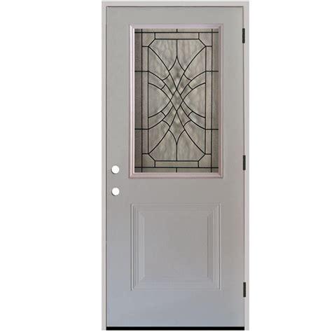 Steel Exterior Doors For Home Steves Sons 32 In X 80 In Webville 1 2 Lite Primed White Steel Prehung Front Door S20h Wvp