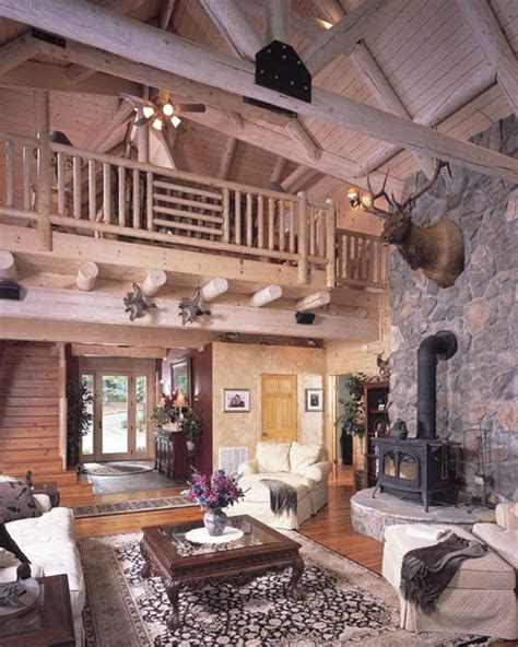 log cabin great room barna log homes of photos house blend log home