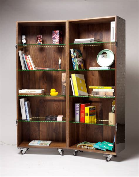 expandable mobile bookshelf in mirror finish stainless