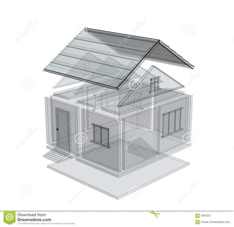 3d house sketch 3d sketch of a house stock image image 5391201