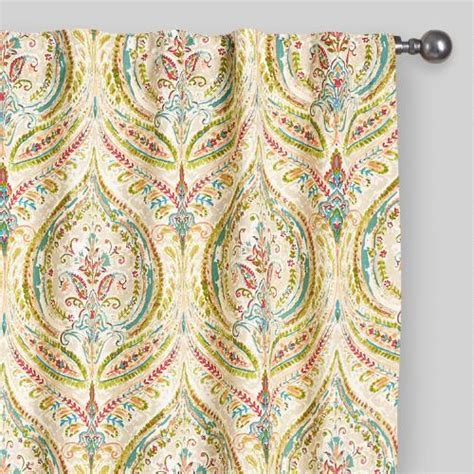 Concealed Tab Curtains Multicolor Ogee Concealed Tab Top Curtains Set Of 2 World Market