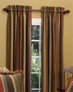 Tapestry Curtain Panels Opulent Striped Tapestry Fabric Tailored Rod Pocket