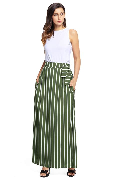 cheap olive green striped maxi skirt from china