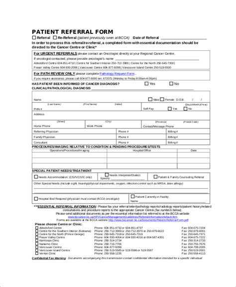 Referral Document Template by 10 Sle Referral Forms Sle Templates