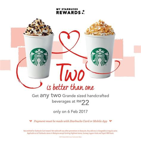 starbucks 2 grande beverages at rm22 food beverages