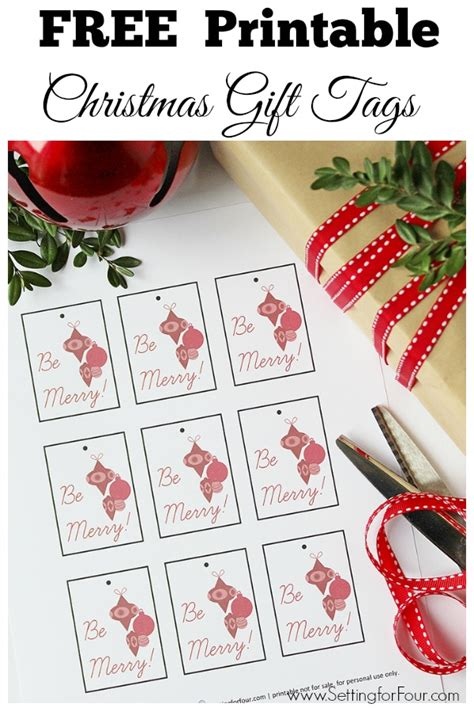 free printable christmas gift tags setting for four