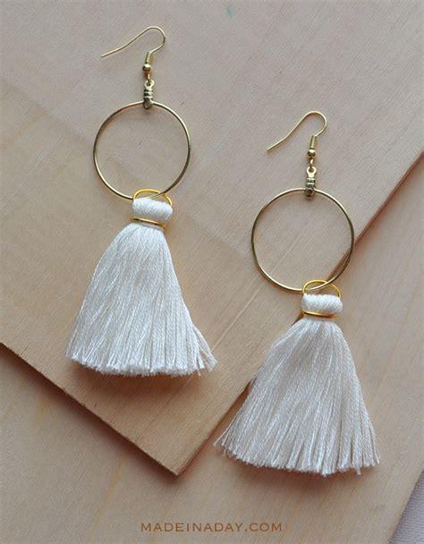 DIY Hoop Tassel Earrings   Made in a Day