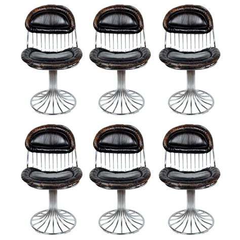 Chrome Leather Dining Chairs Set Of Six Modernist Sculptural Chrome And Vintage Leather Dining Chairs At 1stdibs