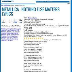 nothing else matters text lyrics pearltrees