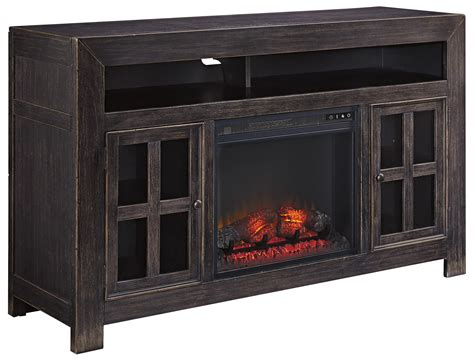 Fireplace Furniture by Signature Design Gavelston Distressed Black Large