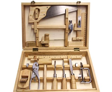 woodworking tools for children moulin roty s large tool box set boasts 14 real