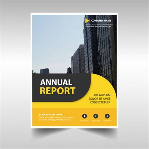free annual report template rounded yellow abstract corporate annual report template
