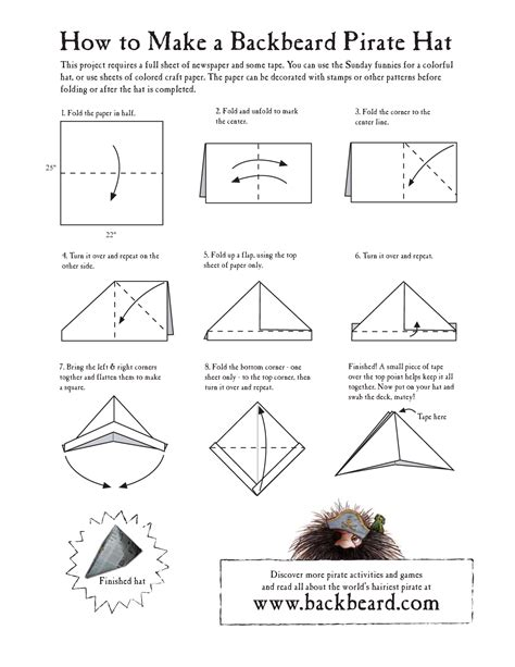 How To Fold A Paper Hat - the gallery for gt tricorn pirate hat pattern