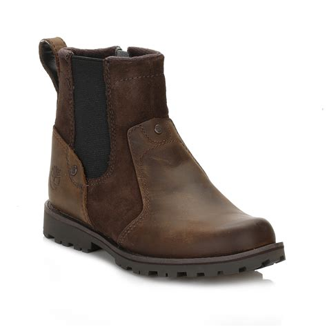 timberland youth brown chelsea boots leather ankle