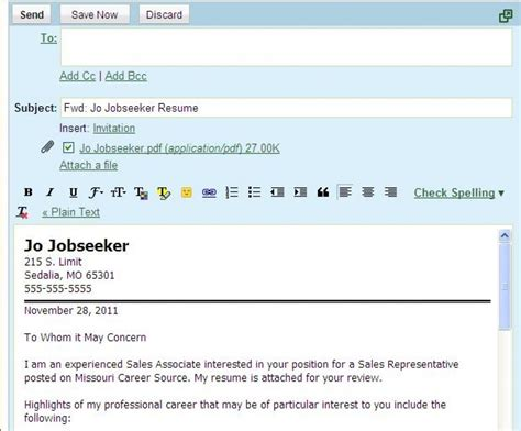 How To Email A Resume by Sle Email Letter Etiquette With Attachments