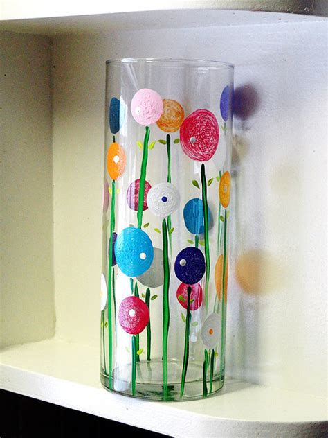 Glass Vase Painting Ideas by Colorful And Washable Painted Vase Enamel Paint