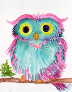 colorful owls owl original watercolor painting colorful bird owl