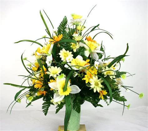 gorgeous cemetery flower arrangement by