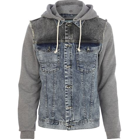 Mens Light Wash Denim Jacket by River Island Light Wash Jersey Sleeve Denim Jacket In Gray