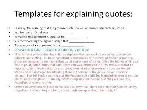 templates for explaining quotations chapter three the art of quoting ppt download