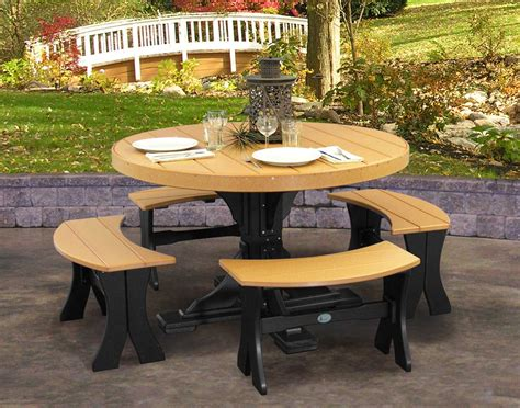 round picnic benches poly lumber 5 piece round picnic table with benches
