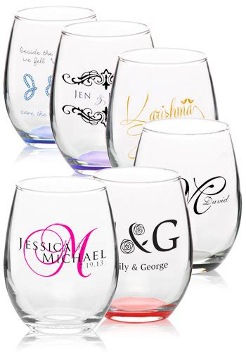 monogrammed barware glasses personalized stemless wine glasses c8832 discountmugs