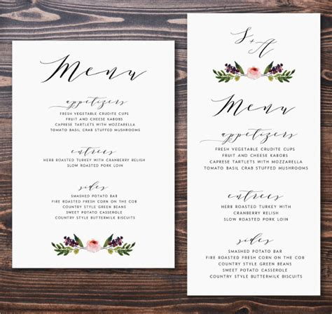 menu cards for weddings free templates 45 menu card templates free sle exle format