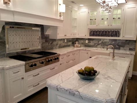 Charming White Granite Countertops For Elegant Kitchen Kitchens With Granite Countertops White Cabinets