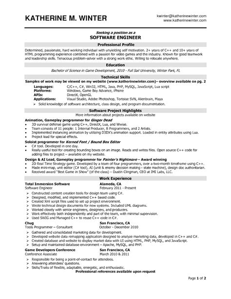 Software Engineer Resume Sles Sle Resumes Software Engineer Resume Template