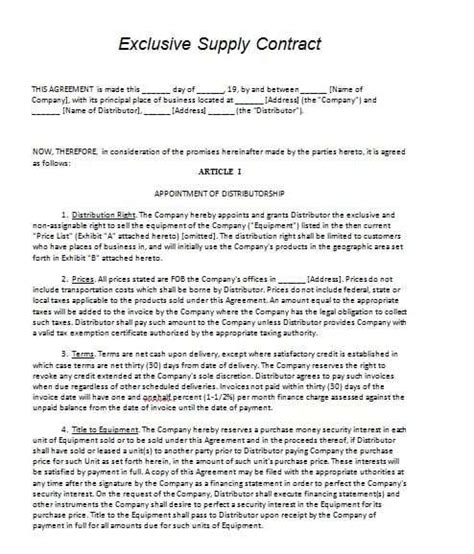 Supply Contract Template Contract Agreements Formats Exles Vendor Supplier Agreement Template
